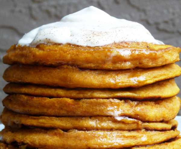 Pumpkin-Ginger Pancakes with Fresh Whipped Cream | The Baking Goddess