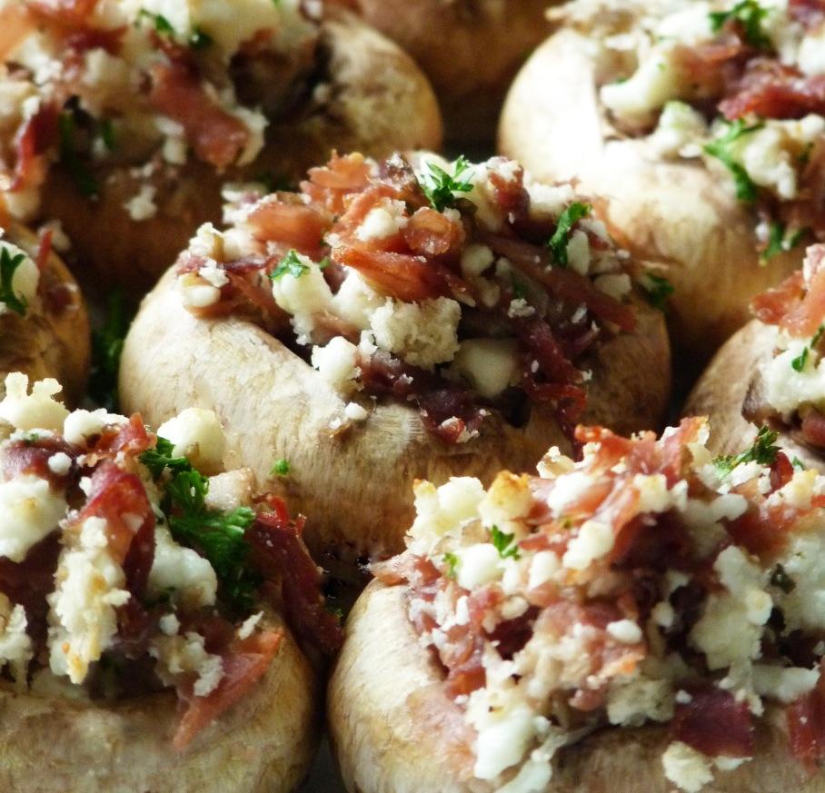 Parma Ham Feta Stuffed Mushrooms
