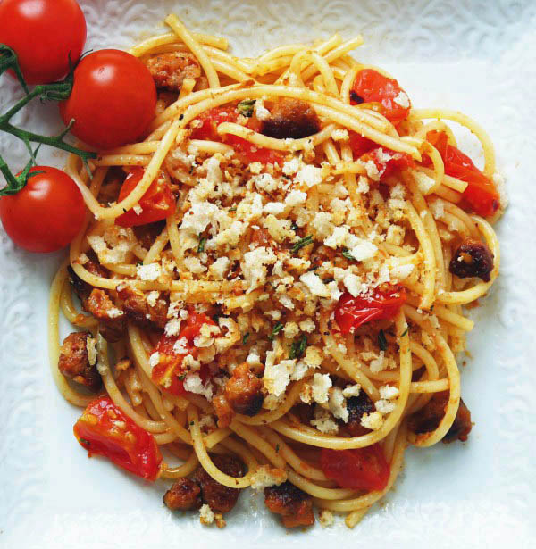 Spaghetti with Chorizo and Rosemary Pangritata