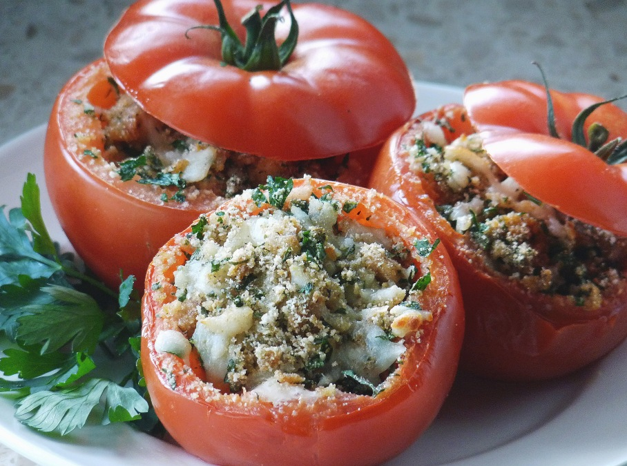 Garlic + Herb Stuffed Tomatoes