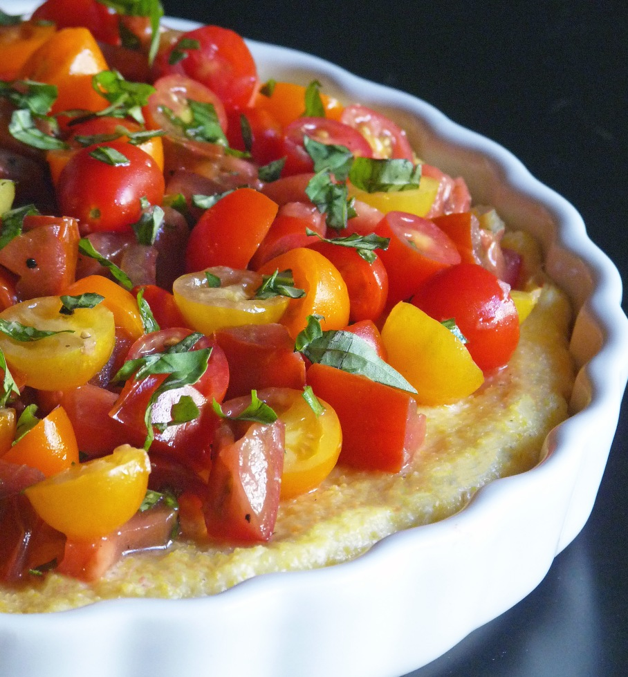 Parmesan Polenta Tart with Heirloom Tomatoes